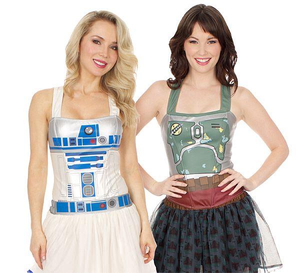 """Star Wars Corset tops: Boba Fett and R2-D2. $32.99 [32""""-40"""" chest, 24""""-32"""" waist]"""