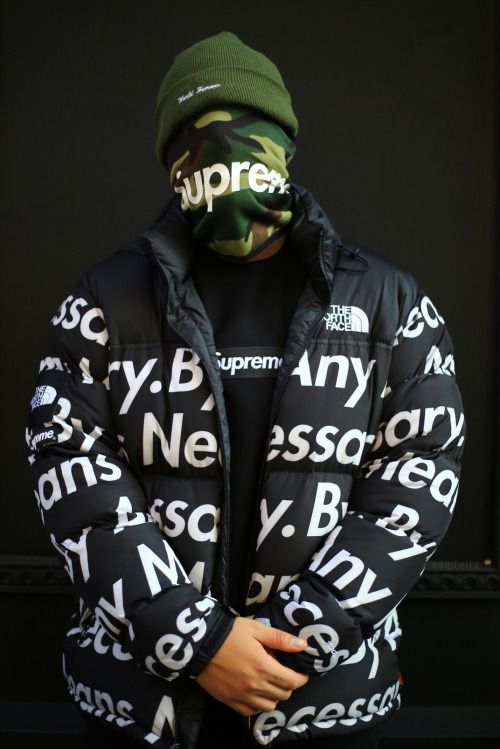 """Supreme """"By Any Means Necessary"""" Outerwear. Simplistic words for a """"F*** You"""" attitude that many of the consumers of Supreme have."""