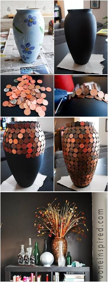Repurposing an old vase, or even lamps, boxes, plates... What a cool and neat idea! pennies and odd cool coins or loose change... turned into treasures or art! Hey... you could even use buttons and do this technique on a vase or even on a frame... so great!                                                                                                                                                      More