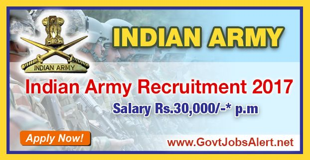 Indian Army Recruitment 2017 - Hiring Army Recruitment Rally Post, Salary Rs.30,000/- : Apply Now !!!  The Indian Army Recruitment 2017 has released an official employment notification inviting interested and eligible candidates to apply for the positions of Army Recruitment Rally in Soldier Tradesman (All ARMS), Soldier Nursing Assistant and Soldier Clerk/Store Keeper Technical.