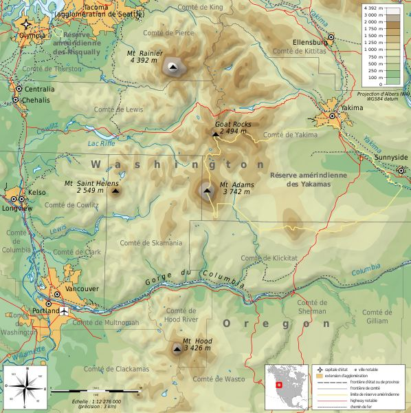 Cascade Range the cascade range is part of a vast mountain chain - copy world map poster the range