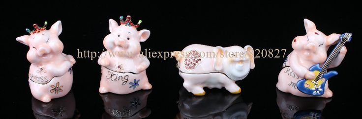 Cheap box space, Buy Quality box directly from China box world Suppliers: Princess Pig Trinket Box Crystal Pig King Jewelry Holing Box Enamel Animal Trinket Gift Display Box Princess Pig King Ring Box