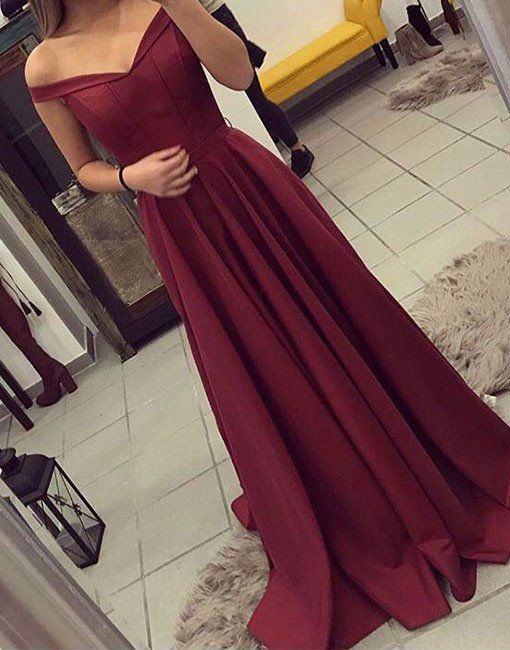 Burgundy off shoulder long prom dresses, burgundy evening dress for teens Warehouse Sales On Designer Clothes 90% OFF. Free Shipping On All Products at