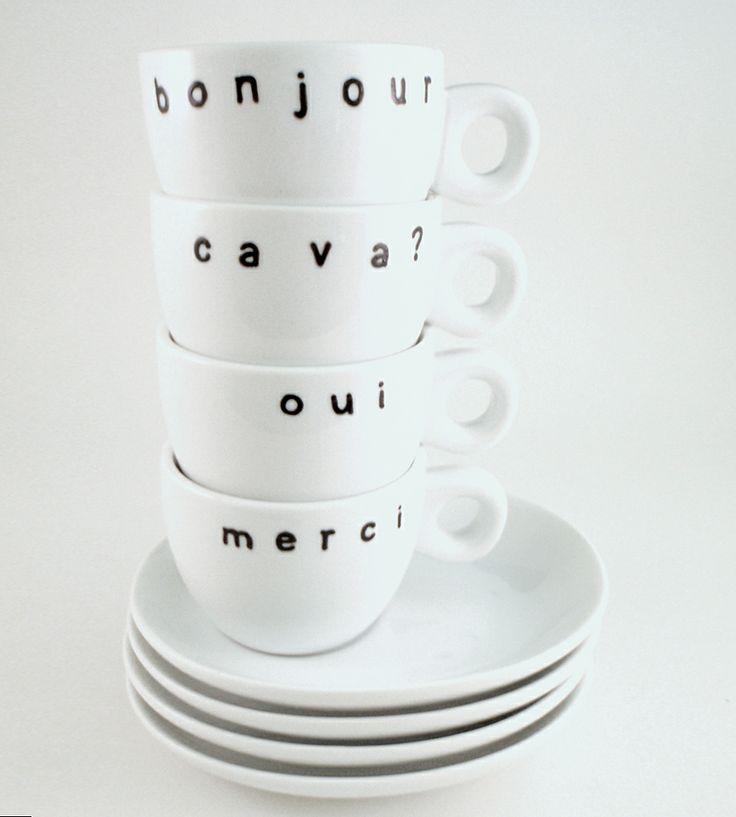 French Porcelain Espresso Cups & Saucers