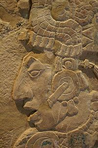 Kinich Kan Balam II, one of the many rulers of Palenque. Detail from the Temple XVII Tablet.