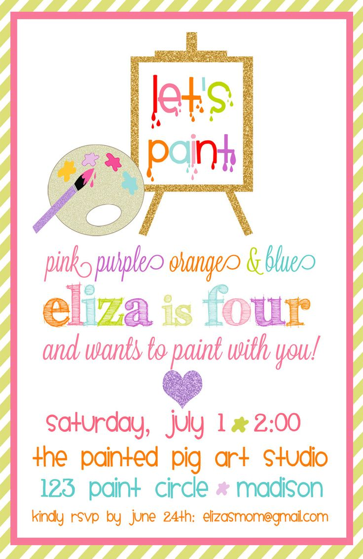 Best 25+ Art party invitations ideas on Pinterest | Kids art party ...