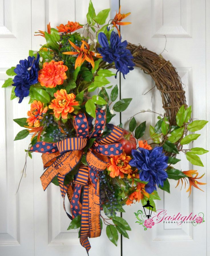 Auburn Fall Grapevine Wreath by Gaslight Floral Design. http://GaslightFloralDesign.com