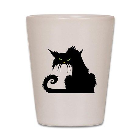 Angry Pissed Off Black Cat Shot Glass on CafePress.com