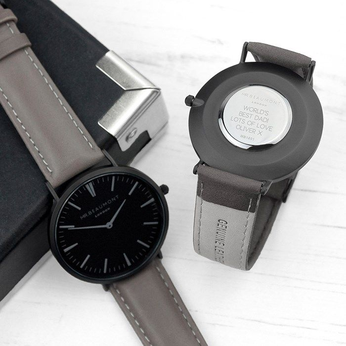 Personalised Men's Watch With Black Face In Ash | GettingPersonal.co.uk