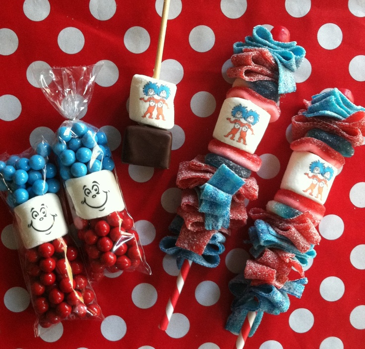 Personalized candy kabob skewer children's birthday party favor suess inspired thing 1 thing 2 carnival unique lollipop marshmallow. $27.00, via Etsy.
