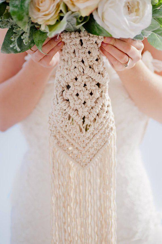 Macrame Wedding Ideas for the perfect Boho Wedding - Macrame wedding inspiration - #macramewedding - #macrameBride - #Bohoweddings - #bohemianBride - macrame bouquet - macrame bouquet wrap