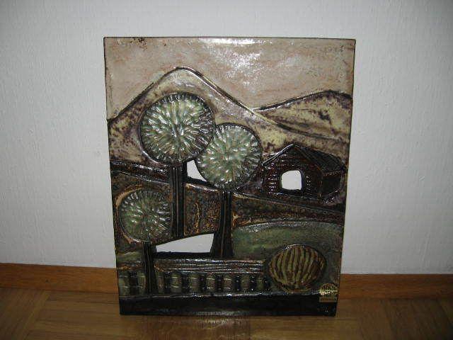 Große Ruscha Wandplatte Platte 70 er Jahre - - - - - - - - - - Keramik - ca 38 x 30 cm - Festpreis - Bei Interesse mailen Sie mir bitte Ihre Lieferadresse und ich sende Ihnen dann meine Bankverbindung - die Portokosten betragen 5,90 Hermes oder 6,90 DHL/Post