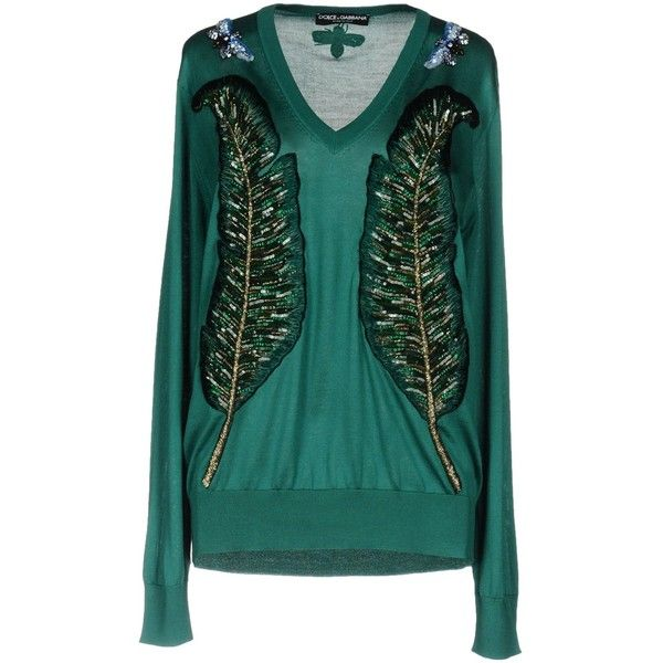 Dolce & Gabbana Sweater ($3,150) ❤ liked on Polyvore featuring tops, sweaters, green, green long sleeve top, green sequin sweater, long sleeve v neck sweater, long sleeve tops and v neck sweater