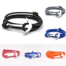 2015 14 Colors Fashion Jewelry Silver Alloy Anchor Bracelet Men Leather Risers…