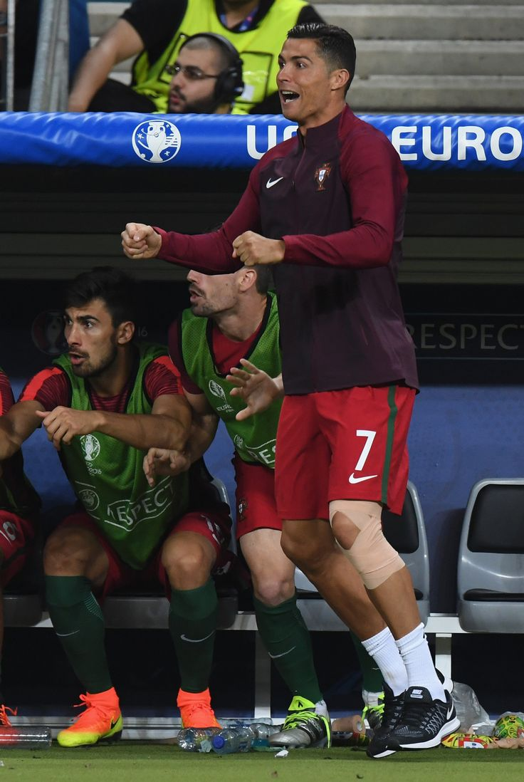 Portugal wins the 2016 Euro. Champions.: Cristiano Ronaldo on the bench