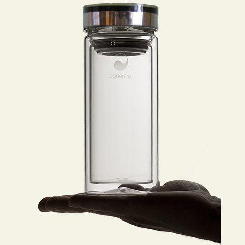 Bouteille isotherme double parois de verre Therm-O de Aquaovo, avec filtre à thé amovible intégré - Contenance 50 cl: Amazon.fr: Cuisine & Maison