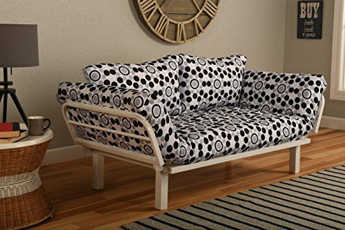 """Why this small white metal futon in so many fabric choices? So versatile for so many areas: College Dorm, Guest Room, Bedroom, Den Studio, Loft, Apartment Sunroom, Covered Patio or Porch  Twin size mattress is approximately 75"""" long x 38"""" wide. This mattress measures... more details available at https://furniture.bestselleroutlets.com/living-room-furniture/futons/futon-frames/product-review-for-white-metal-frame-small-futon-lounger-furniture-for-studio-loft-college-"""