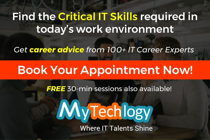 Find out the critical IT skills required for your IT career progression. Get career advice from 100+ IT career experts. Book your FREE 30-min session now!