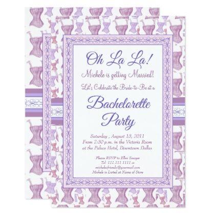 Oh La La Pink Corset Bachelorette Party Card - shower gifts diy customize creative