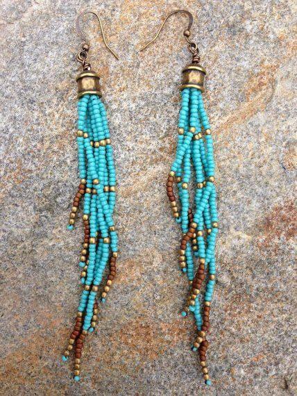 Turquoise Seed Bead Earrings, Long Seed Bead Earrings, Boho Southwestern…