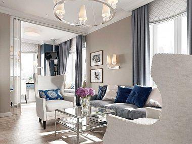 Дизайн интерьера квартиры в стиле американской неоклассики в ЖК «Империал», 77 кв.м.
