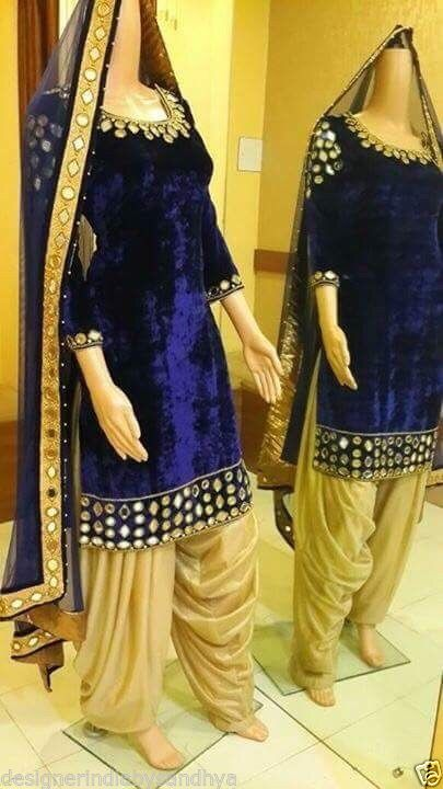 Punjabi Patiala Bollywood Designer Indian Embroidery SALWAR KAMEEZ velvet suit