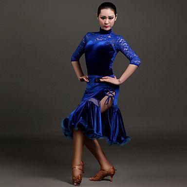 Tenue(Noire+/+Bleu+/+Rouge,Dentelle+/+Velours,Danse+latine)Danse+latine-+pourFemme+Au+drapée+Spectacle+Danse+latine+Taille+moyenne+–+EUR+€+127.39