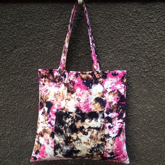 Pink Black Gold White Tote Bag. 100% Cotton Canvas. Hand Dyed Beach Bag. School Bag. Shopping Bag