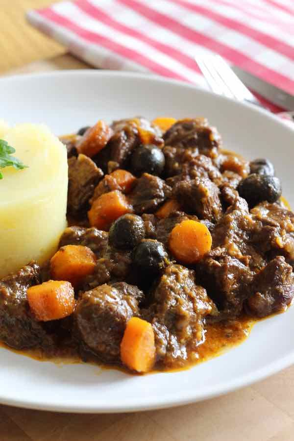 Daube is a traditional comforting French stew from Provence made with beef that is marinated in red wine with herbs and spices.
