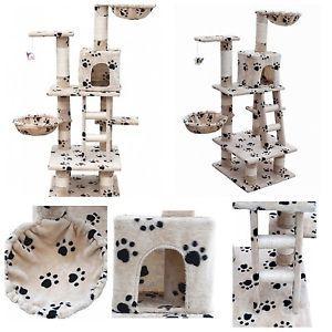 Cat Scratching Tree Post Play Center Climb Tower House Scratcher Pet Furniture   eBay
