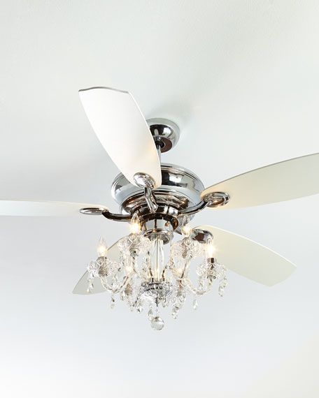 #ONLYATNM Only Here. Only Ours. Exclusively for You. Ceiling fan made of metal and wood composite. Cut-crystal chandelier light kit included. Dual, convertible remote controls adaptable for either wal