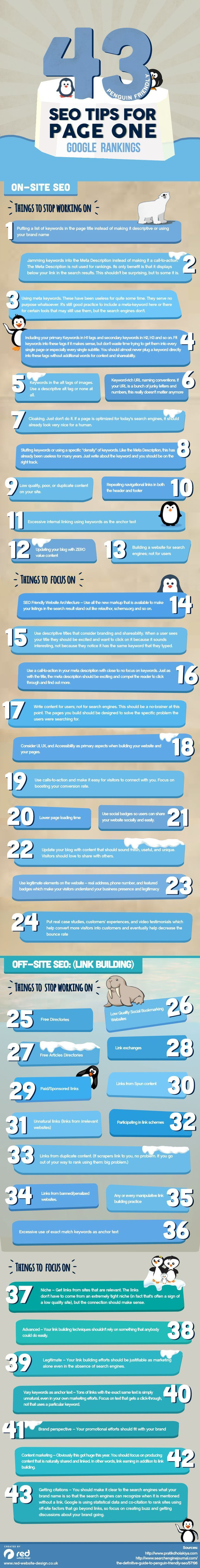 43 Penguin Friendly SEO Tips for Page One Google Rankings. #SEO #SEM #OnPage