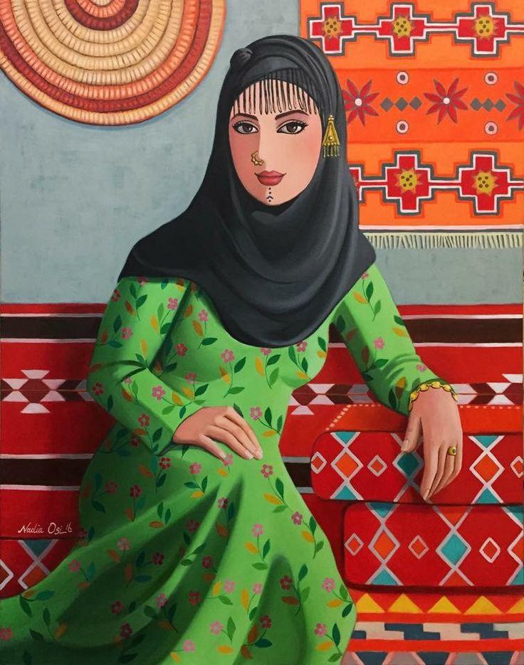 بنت الرافدين 2016 Nadia Oisi Iraqi Artist Acrylic on canvas 65cmx80