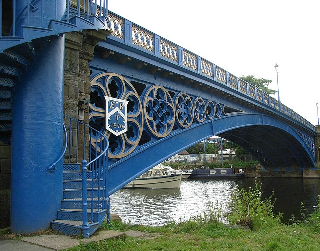 Blue Bridge over the River Severn at Stourport-on-Severn in Worcestershire, England; built in 1879;  photo by bryanilona, via Flickr