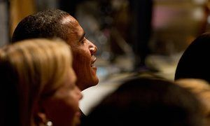"""US President Barack Obama listens to Tony Award-winning actress Elaine Stritch sing onstage during a White House Music Series event saluting Broadway theater and music performances in the East Room of the White House in Washington on July 19, 2010. The event, """"A Broadway Celebration: In Performance at the White House"""" features selections from American musicals with artists such as Nathan Lane, Idina Menzel, Brian d'Arcy James, Marvin Hamlisch and other Broadway stars.     AFP PHOTO/Saul LOEB…"""