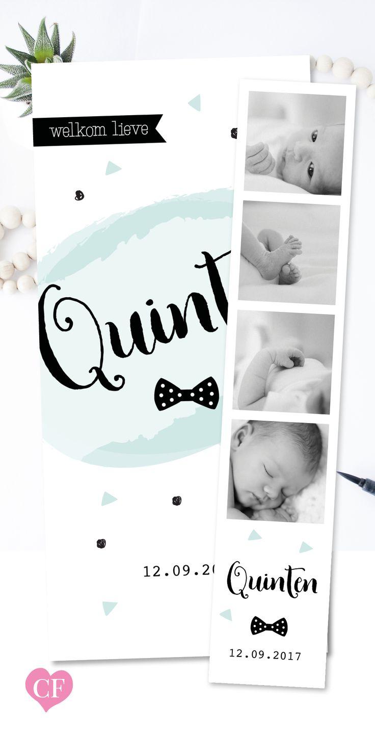 Stoer geboortekaartje voor een jongen met fotostrip | strik | geboortekaartjes voor jongens | filmstrip | groen | mint groen | blauw | watercolor
