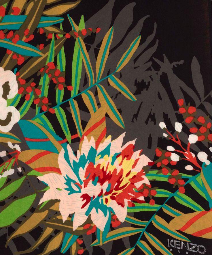 Black Jungle Silhouette Print Silk Scarf, Kenzo. Liberty.co.uk