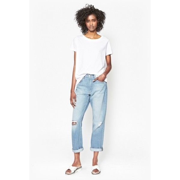 French Connection  High Rise Boyfriend Jeans (1 065 ZAR) ❤ liked on Polyvore featuring jeans, ripped bleach, ripped boyfriend jeans, distressed boyfriend jeans, distressed jeans, boyfriend jeans and white boyfriend jeans