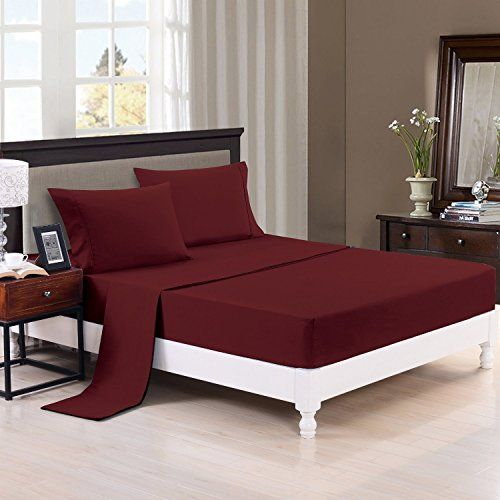 Luxury Comfort 2800 Series Wrinkle & Fade Resistant Egyptian Cotton Quality Ultra Soft 4-Piece Bed Sheet Set Full, Burgundy 1LN //http://bestadjustablebed.us/product/luxury-comfort-2800-series-wrinkle-fade-resistant-egyptian-cotton-quality-ultra-soft-4-piece-bed-sheet-set-full-burgundy-1ln/