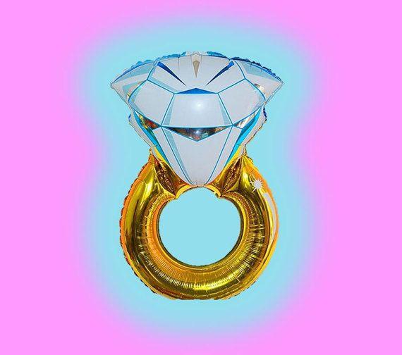 Giant Jumbo Huge Large Big Mylar Foil Engagement Wedding Diamond Ring Balloon Decoration Bridal Shower Party Bachelorette Decorations Limo