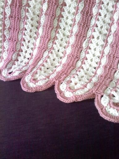 "Pink and Cream ""Mile a Minute"" afghan I crocheted"