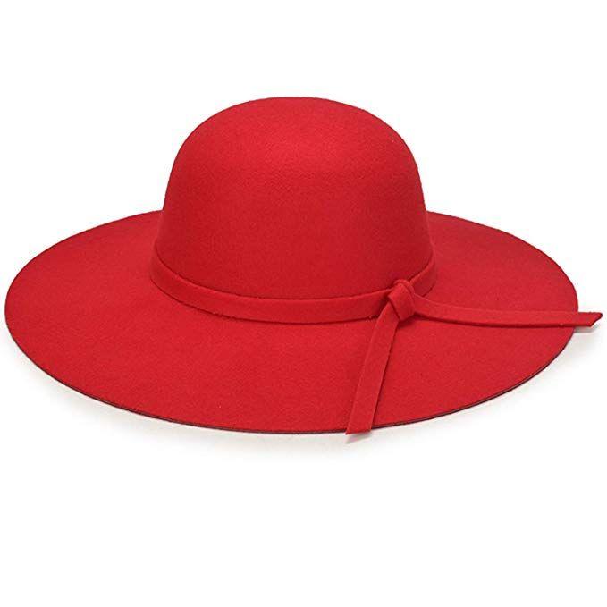 6b0e6c78114 YSense Womens Wide Brim Ribbon Band Fedora Floppy Hat