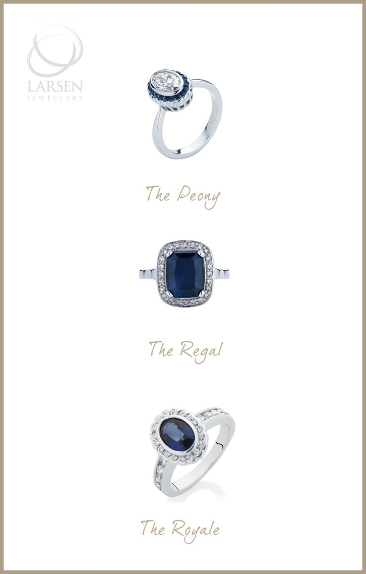 Three of Larsen Jewellery's beautiful Australian Blue Sapphire engagement rings.  www.larsenjewellery.com.au