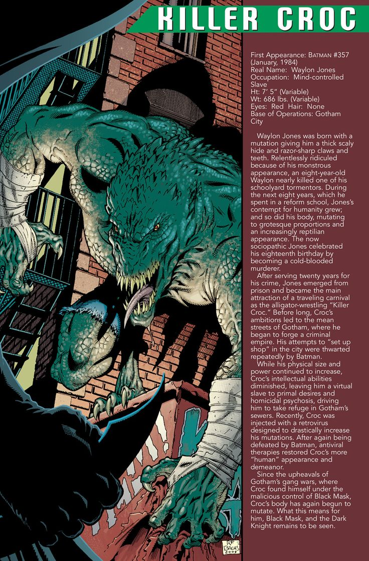 Killer Croc Info Page - Ramon Bachs & Jason Wright