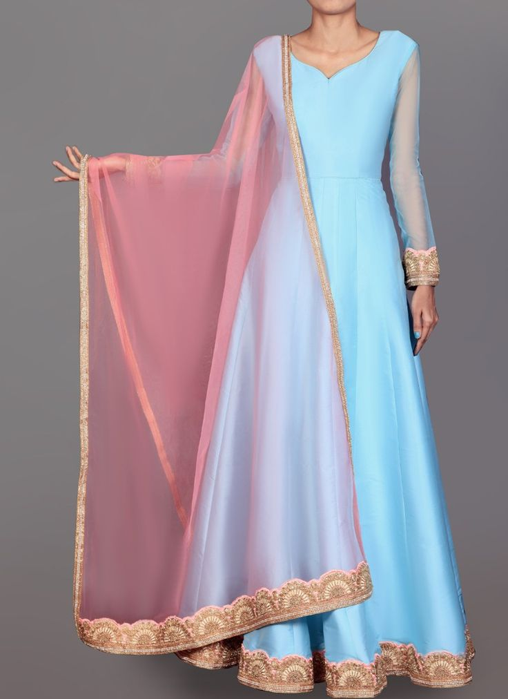 Powder Blue and Pink Dhupiani Silk Anarkali