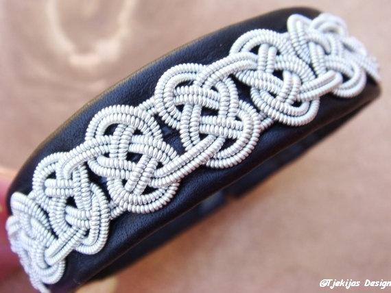 Sami Lapland Swedish Reindeer Leather Pewter Bracelet - Antler Button - Black - Viking