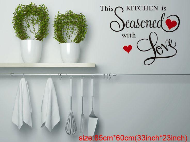 Особенно Дизайн Эта Кухня Приправлено Красный Любовь ПВХ Wallstickers Съемный Стикер Стены Декор Для Кухни + B