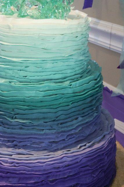 Ombre Purple Aqua Mermaid Theme Party Birthday Cake