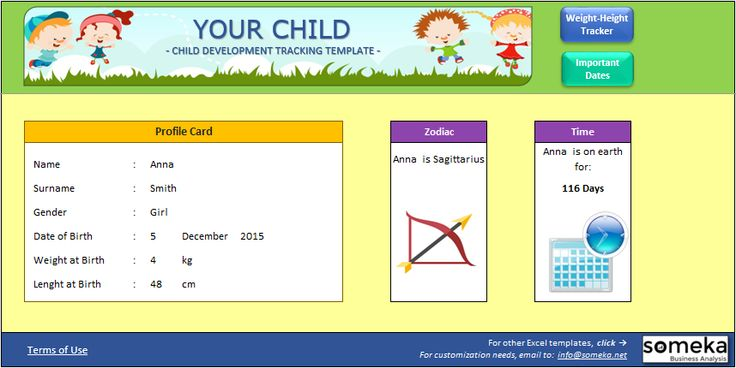 Your Child - Excel Template: Enter your child's info and track all her/his records in this template. See how good is your child's values according to the world standards. Enter the dates for important events (like first tooth or first walk) His/her doctor will love all these info. #excel #template #spreadsheet #personal #child #children #tracker #charts #health #Zodiac #calculator #printable