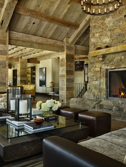 Love this!Barns Living, Stones Fireplaces, Ranch Home, Living Rooms, Dreams, Livingroom, Rocky Mountain, House, Mountain Home